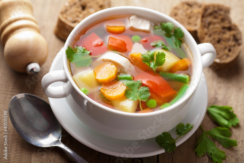 Fotografie, Obraz  chicken soup with vegetables