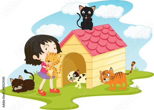 Wall Murals Cats cat girl