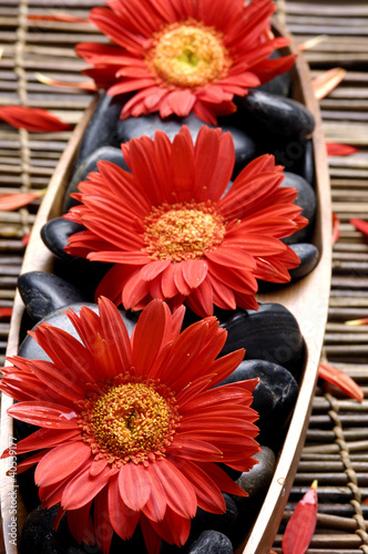 Tuinposter Spa Spa-like setting. red flower and stone on mat