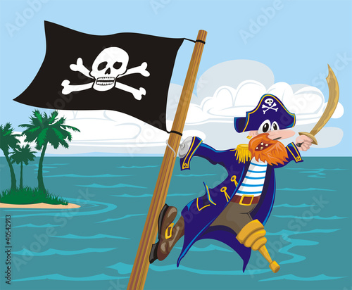 Photo Stands Pirates menacing pirate and jolly roger