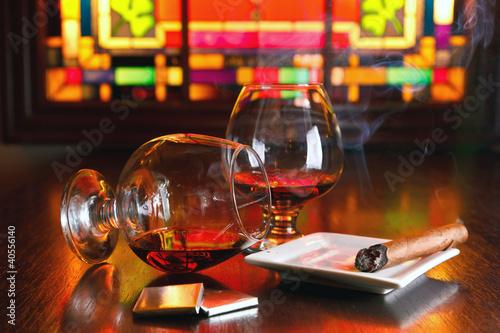 Fotografie, Obraz  two glasses of brandy with chocolate