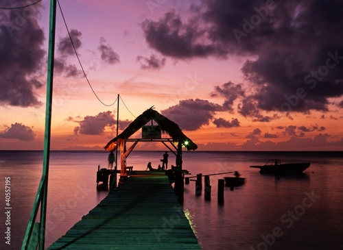 Tuinposter Pier Pigeon Point at sunset, Tobago, Caribbean © Arena Photo UK