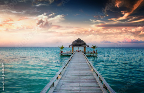Tuinposter Pier Sunset / Sunrise Jetty at Maldives / Malediven
