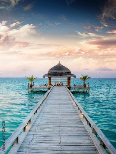 Foto-Leinwand - Sunset / Sunrise Jetty at Maldives / Malediven