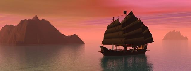 Oriental junk boat