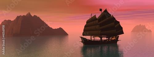 Cadres-photo bureau Corail Oriental junk boat