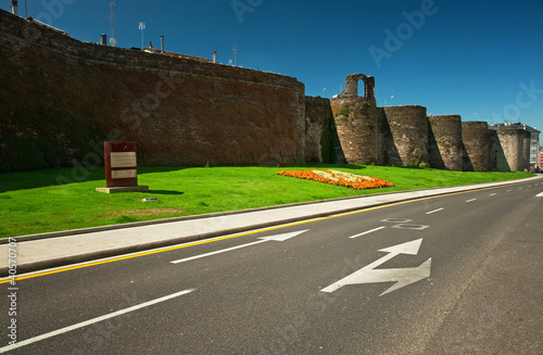 Detail of the famous roman wall of Lugo, Spain
