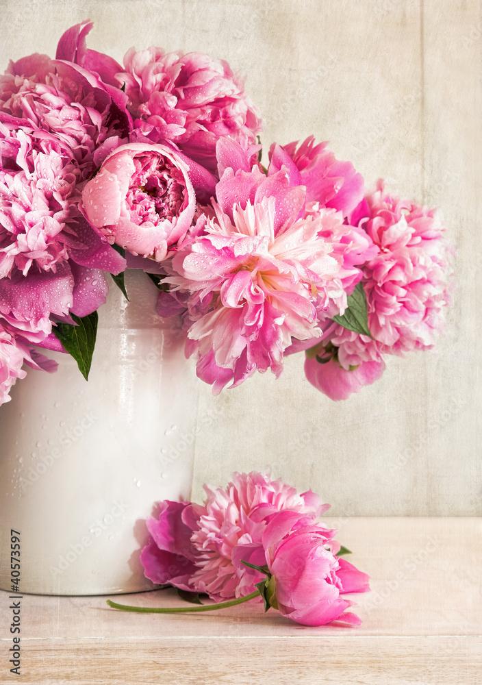Fototapety, obrazy: Różowe piwonie w wazonie