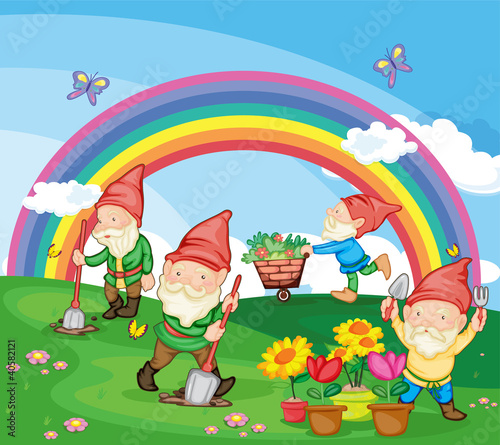 Poster Fairies and elves Cartoon illustration