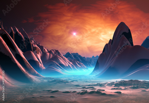 Spoed Foto op Canvas Bordeaux Alien Planet with Mountains