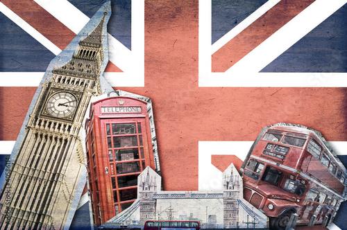 Poster Londres bus rouge Collage Londre Union Jack