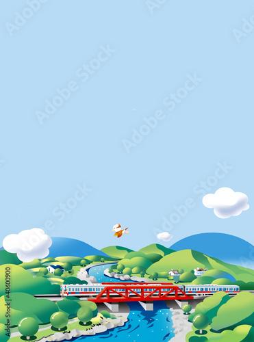 Poster Oiseaux, Abeilles 鉄橋と電車