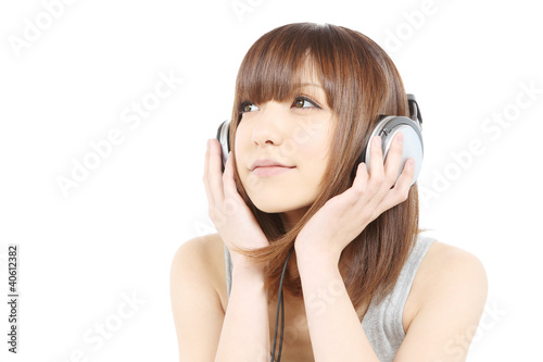 Fotografie, Obraz  音楽を聴く女性