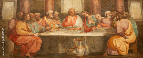 Rome - fresco of Last super of Christ - Santa Prassede - 40612563