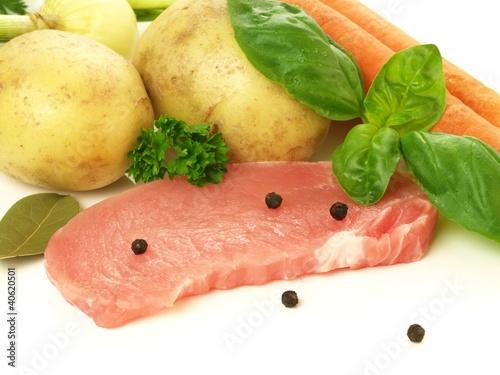 Fotografie, Obraz  Pork with vegatables, isolated, closeup