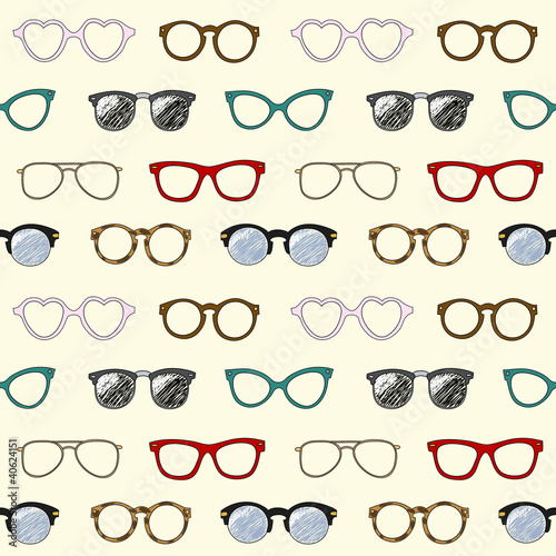 Fényképezés  Seamless pattern with retro glasses and frames