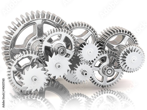 Fotografie, Obraz  Gears isolated on white. Work concept.