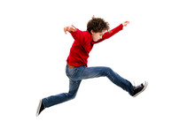 Boy Jumping, Running Isolated ...