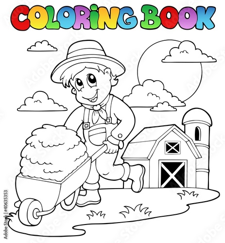 Spoed Foto op Canvas Doe het zelf Coloring book farm theme 3