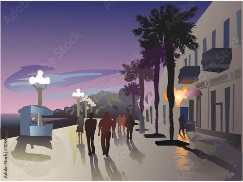 vector image of Tel Aviv's promenade Fototapeta