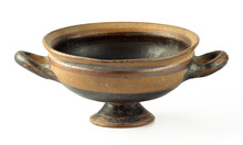 Old Earthenware Vase On White Background
