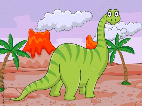 Deurstickers Dinosaurs Dinosaur cartoon