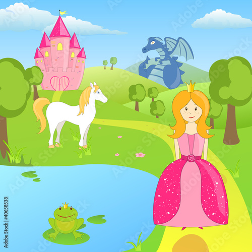Deurstickers Pony Vector Fairytale