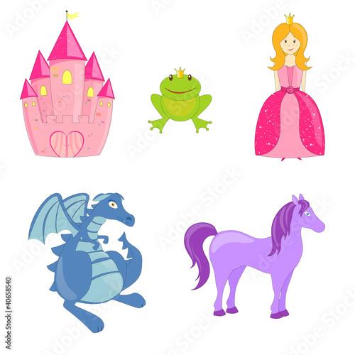Poster Castle Vector Fairytale Set
