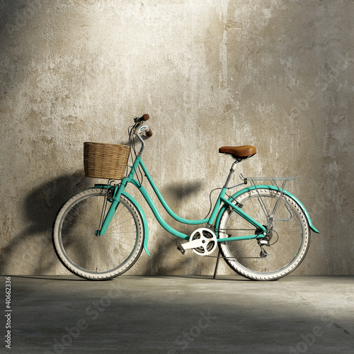 Foto op Plexiglas Retro Old vintage romantic green bicycle, stylish basket grungy wall