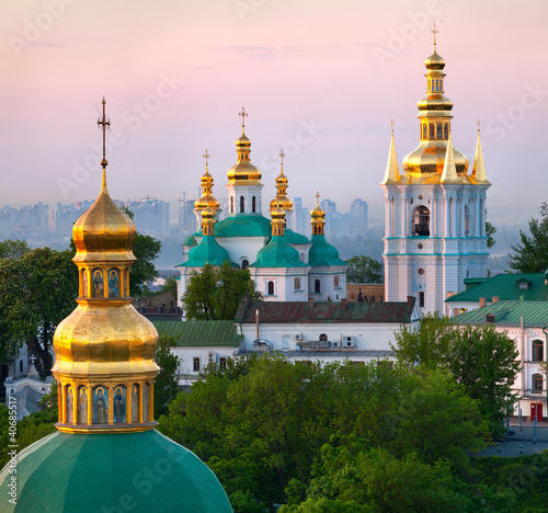 Photo Stands Kiev View of Kiev Pechersk Lavra Orthodox Monastery, Ukraine