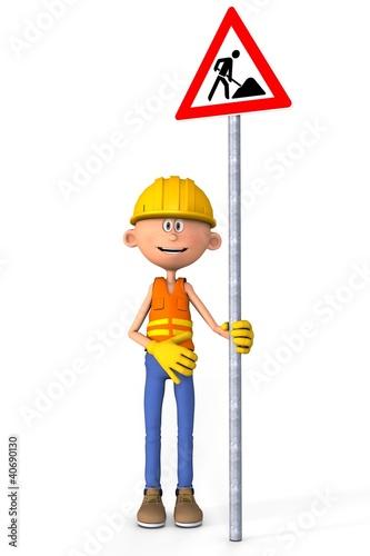 Bauarbeiter Mit Baustellenschild Comic Buy This Stock Illustration