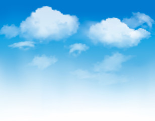 FototapetaWhite clouds in a blue sky. Sky background. Vector