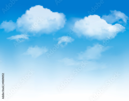 Fotografering  White clouds in a blue sky. Sky background. Vector