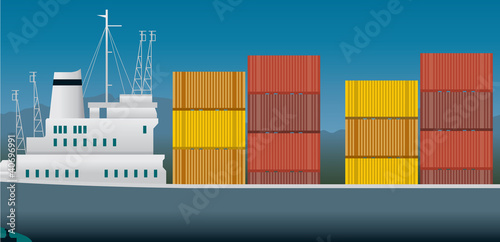 Imports and exports, container ship