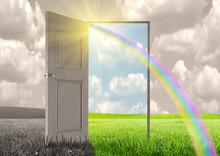 Sun Rays Passing Through An Open Door