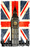Fototapeta Big Ben - drapeau anglais  big ben vertical