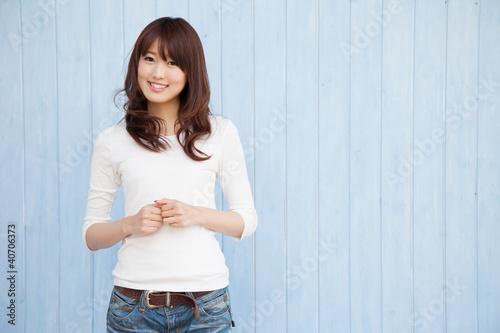 Fotografia  ブルー背景の女性