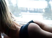 Girl With A Beautiful Ass Is Next To The Window
