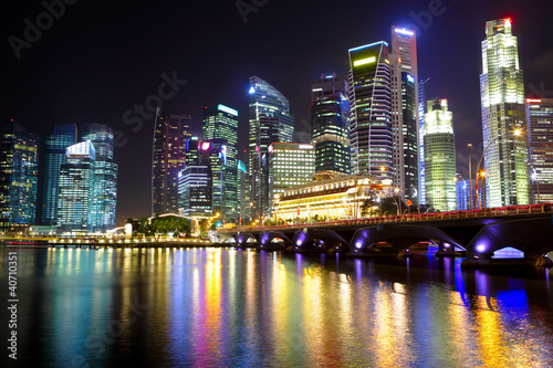 Tuinposter Singapore Singapore cityscape at night