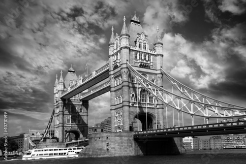 Tower Bridge in black and white style in London, UK