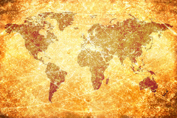 Fototapetaaged vintage world map texture and background