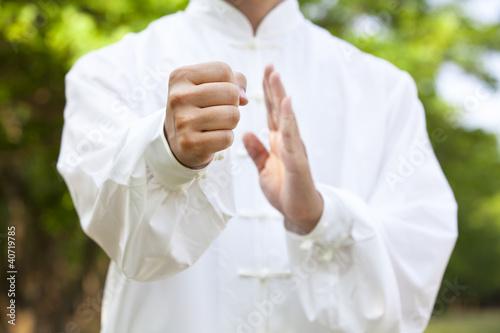hand of kung fu man Canvas Print