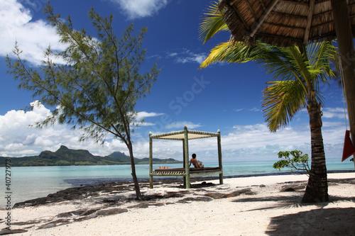 Bett Am Strand Von Mauritius Buy This Stock Photo And Explore