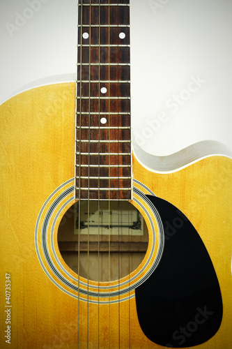 Fényképezés  Acoustic guitar isolated on white background