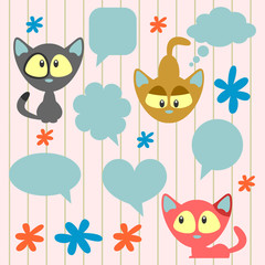 Cute cartoon kittens and speech bubbles