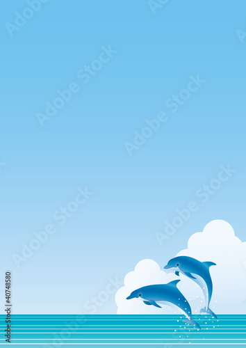 Poster Dolfijnen 海 イルカジャンプ たて