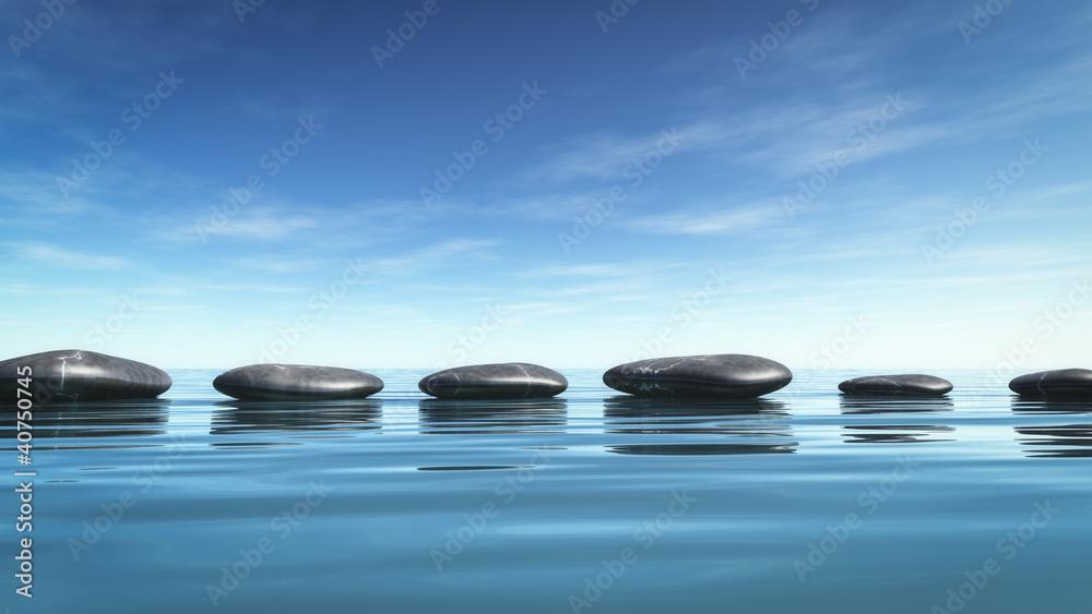 Doppelrollo mit Motiv - step stones in the blue sea