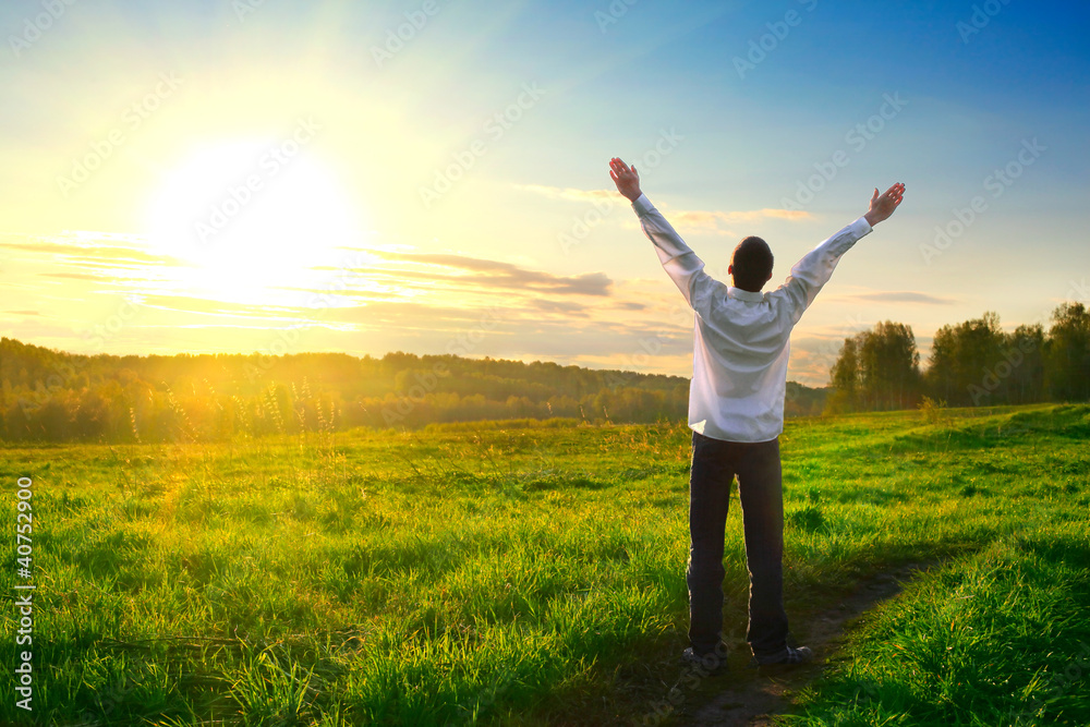 Fototapety, obrazy: happy man outdoor