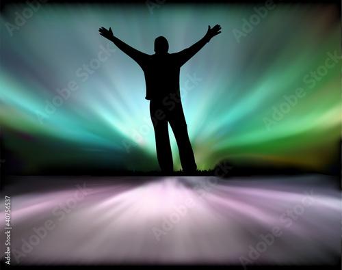 Fotografia, Obraz  Aurora borealis and men