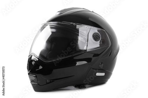 Vászonkép black motorcycle helmet isolated